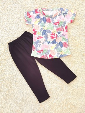 [SIZE 1/2Y - 3/4Y] Girl Set : TROPICAL MIX WHITE WITH BLACK PANT  (1y - 8y) SPG