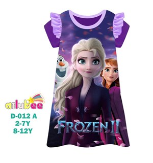 @  AILUBEE  FROZEN PURPLE  DRESS  SLEEPWEAR ( D012-A  ) SZ  2Y - 12Y