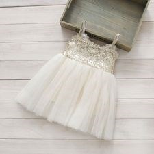Beige Sequin Lace Dress