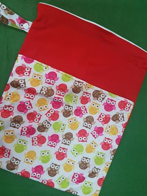 Wetbag For Cloth Diapers - Double Zip  (Surprised Owl)