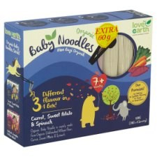 Love Earth Organic Baby Noodles Carrot, Sweet Potato & Spinach 7+ Months 6 x 30g (180g) + Extra 60g