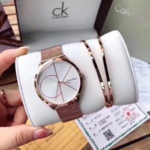CK08 A01 CALVIN KLEIN Elegant Watch Set (Watch + Bangle )