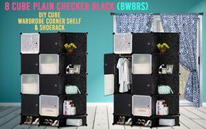 Plain Checker Black 8C DIY Cube w Corner Rack & Shoerack (BW8RS)