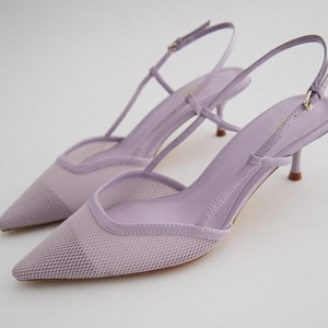 Light Violet Pointed Buckle Kitten Heels