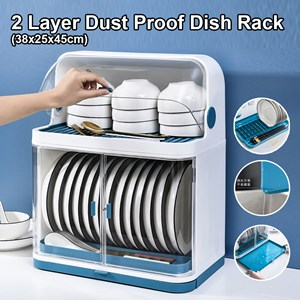 2 Layer Dust Proof Dish Rack Drainer