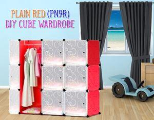 Plain Red 9C Diy Wardrobe (PN9R)