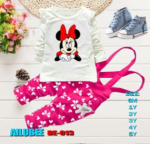 BE013 ( MINNIE PINK - LONG SLEEVE ) AILUBEE BABY JUMPSUIT 2PCS SET
