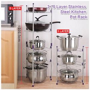 3/5 Layer Stainless Steel Kitchen Rack Storage Pan Pot Organizer Rack