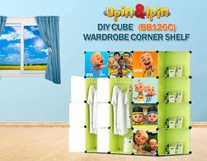 NEW Upin & Ipin GREEN 12C DIY Wardrobe with Corner Shelf (BB12GC)