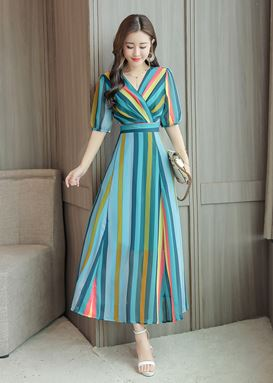 V-neck Stripe Chiffon Bohemian Dress