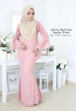 Kurung Zarra Ruffles Dusty Pink