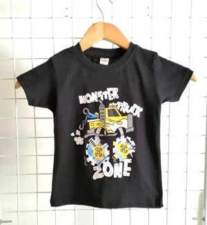T-Shirt Short Sleeve Monster Truck Zone: Size 1y-6y (1 - 6 tahun) QK