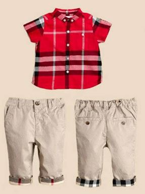 BURBERRY RED TOP+WHOITE PANT
