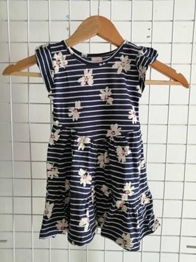 Princess Dress V2 : White Daisies On Stripes, size 2-4 (Dark Blue)