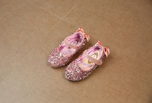 BABY SHOES KIDS GIRLS SEQUINED SHINING DINNER SHOES (PINK)