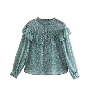 TINY FLORAL RUFFLE TOP