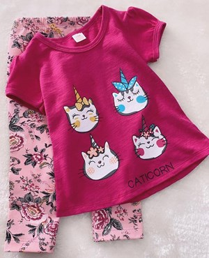 Girl Set Fushia Caticorn Pink With Flower Pant (2y - 4y)