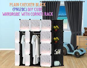 Plain Black 12C DIY Wardrobe With Corner Rack (PN12BC)