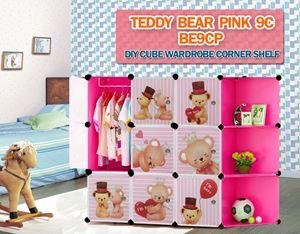 Teddy Bear PINK 9C DIY CUBE WARDROBE w CORNER RACK (BE9CP)