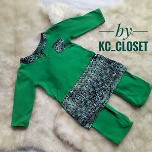 BAJU MELAYU ROMPER / JUMPER WITH ATTACHED SAMPIN ( GREEN)