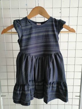 Princess Dress V2 : DENIM BLUE STRIPES, size 4-6