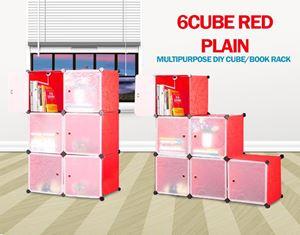 Plain Red 6C DIY CUBE/BOOK RACK (BR6)