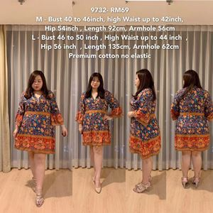 9732 Ready Stock *Bust 40 to 50 inch/ 101-127cm