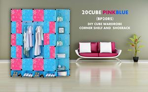 20Cube Pink Blue DIY Cube w Corner Rack & Shoerack (BP20RS)