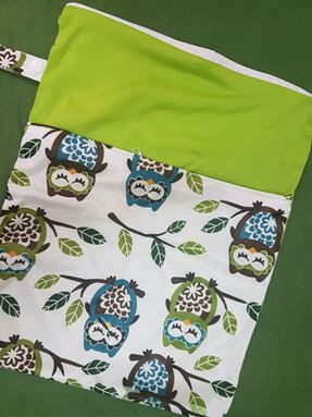 Wetbag For Cloth Diapers - Double Zip  (Sleeping Owl)