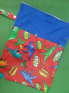 Wetbag For Cloth Diapers - Double Zip  (Dinosaur)