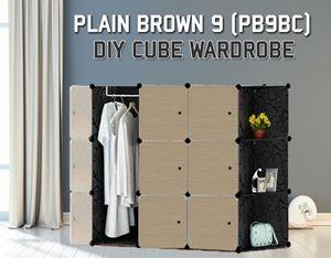 Plain Brown 9C Diy Wardrobe With Corner Rack (PB9BC)