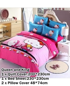 CARTOON BED SHEET HELLO KITTY PINK 13 DESIGN (FITTED) N00357 READY STOCK