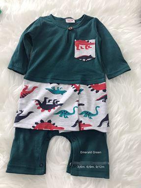 Rompers Baju Melayu ( Green with Dinosaur Sampin )