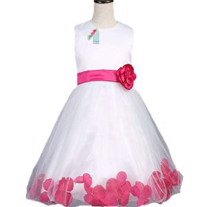 #L106 WHITE DINNER DRESS ( DARK PINK FLOWER )