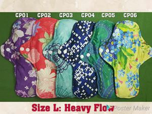 Qissara Bamboo Charcoal Cloth Pad - Size L