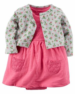 Baby Romper & Cardigan Set Flower Grey