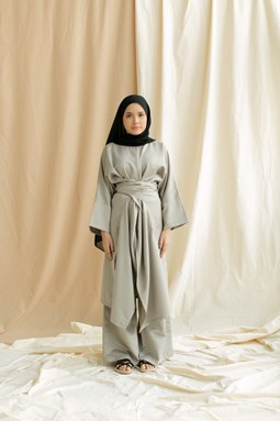Kaylea Wrap Top & Wide Leg Pants (Pewter Grey)