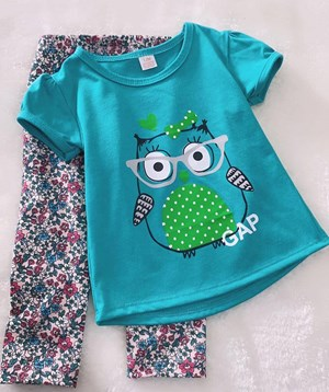 Girl Set Turqoise Owl With Little Floral Pant (2y - 4y)