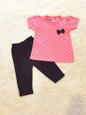 [SIZE 12/18M - 30/36M] Baby Girl Set : MINI WHITE LOVE PINK WITH BLACK PANT SDM
