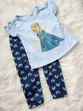 Girl Set Blue Frozen With Navy Rainbow Pant (2y - 5y)