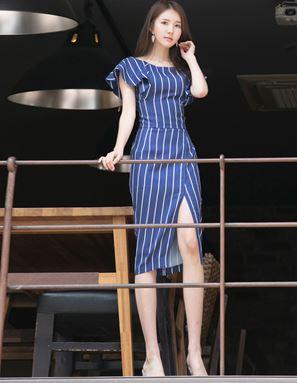 Stripe Slits Round Neck Dress