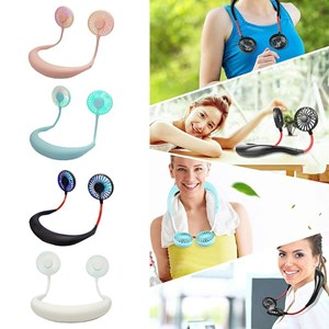 New Mini Portable Rechargeable Neck Fan With LED Light And Hanging Style Dual Cooling Lazy Fan ( High Quality)