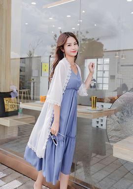 Blue Sling Chiffon Dress + White Cardigan