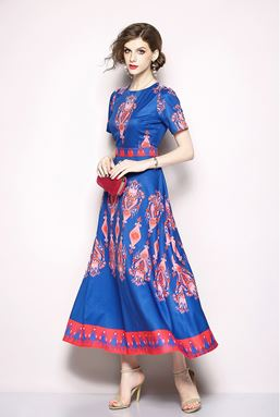 Blue Retro National Wind Printing Dress