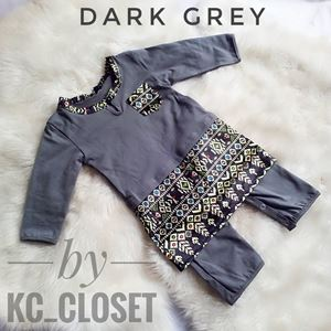 BAJU MELAYU ROMPER / JUMPER WITH ATTACHED SAMPIN ( DARK GREY)