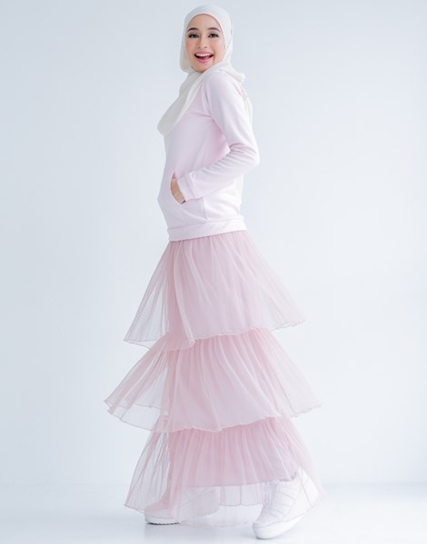TIFFANY RUFFLE SKIRT IN CAMILLE PINK