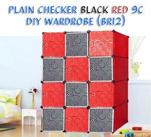 PLAIN CHECKER BLACK RED 12C DIY WARDROBE (BR12)