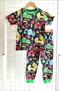 Pyjamas TRACTOR BLACK :  Big Size 12-16 (MYSHA)