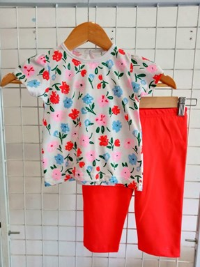 Baby Girl Set : Mix Flower on White With Red Pant size 9m - 24m