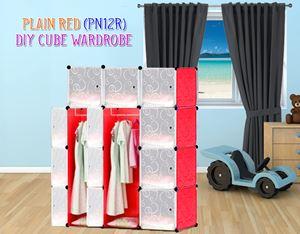 Plain Red 12Cube Diy Wardrobe (PN12R)